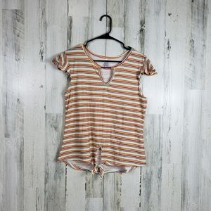 Cute striped front tie summer top size large